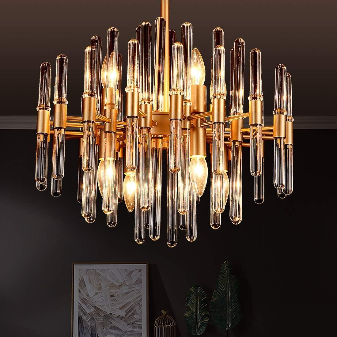 TZOE Modern Chandeliers,Crystal Chandelier,8 Light Round Pendant  Light,Width 19 inch,Brass Metal + Clear Glass,Adjustable Height,UL Listed -  - Amazon.com