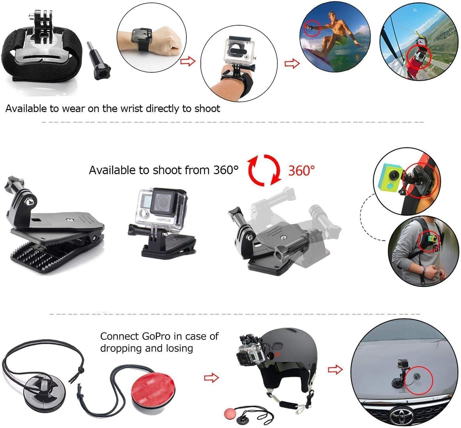 Zookki 40 en 1 Accesorios Kit para GoPro Hero 5 4 3+ 3 2 1 Black Silver, Deportes Cámara Conjunto para SJ4000 SJ5000 SJ6000/ Xiaomi Yi/Lightdow/WiMiUS/DBPOWER: Amazon.es: Electrónica