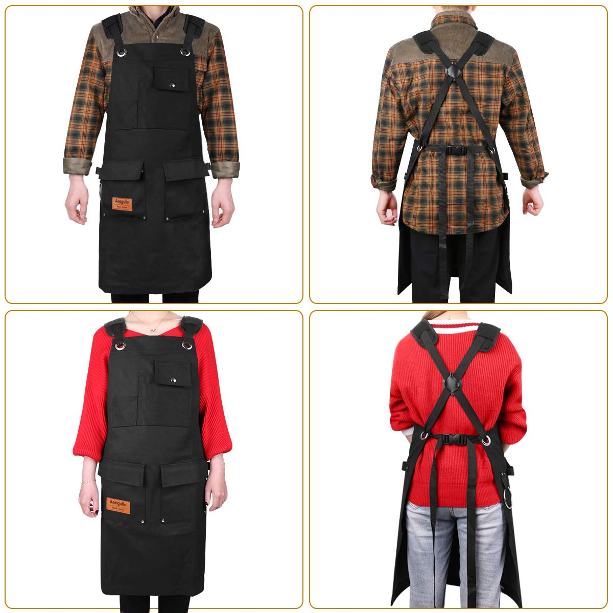 Aeegulle Work Apron, Heavy Duty Waxed Canvas Tool Apron (With work gloves), 6 Pockets, Thick shoulder pad, Quick Release Buckle, Cross-Back Straps Adjustable M to XXL, Apron for Men & Women(black) by Aeegulle (Image #2)