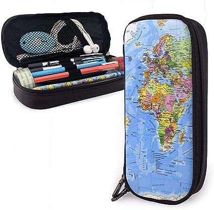 Mapa completo de latitud y longitud Lindo estuche para lápices Estuche para lápices Bolsa de cuero Estuche para lápices Estuche para oficina escolar Niñas Niños Adultos: Amazon.es: Oficina y papelería