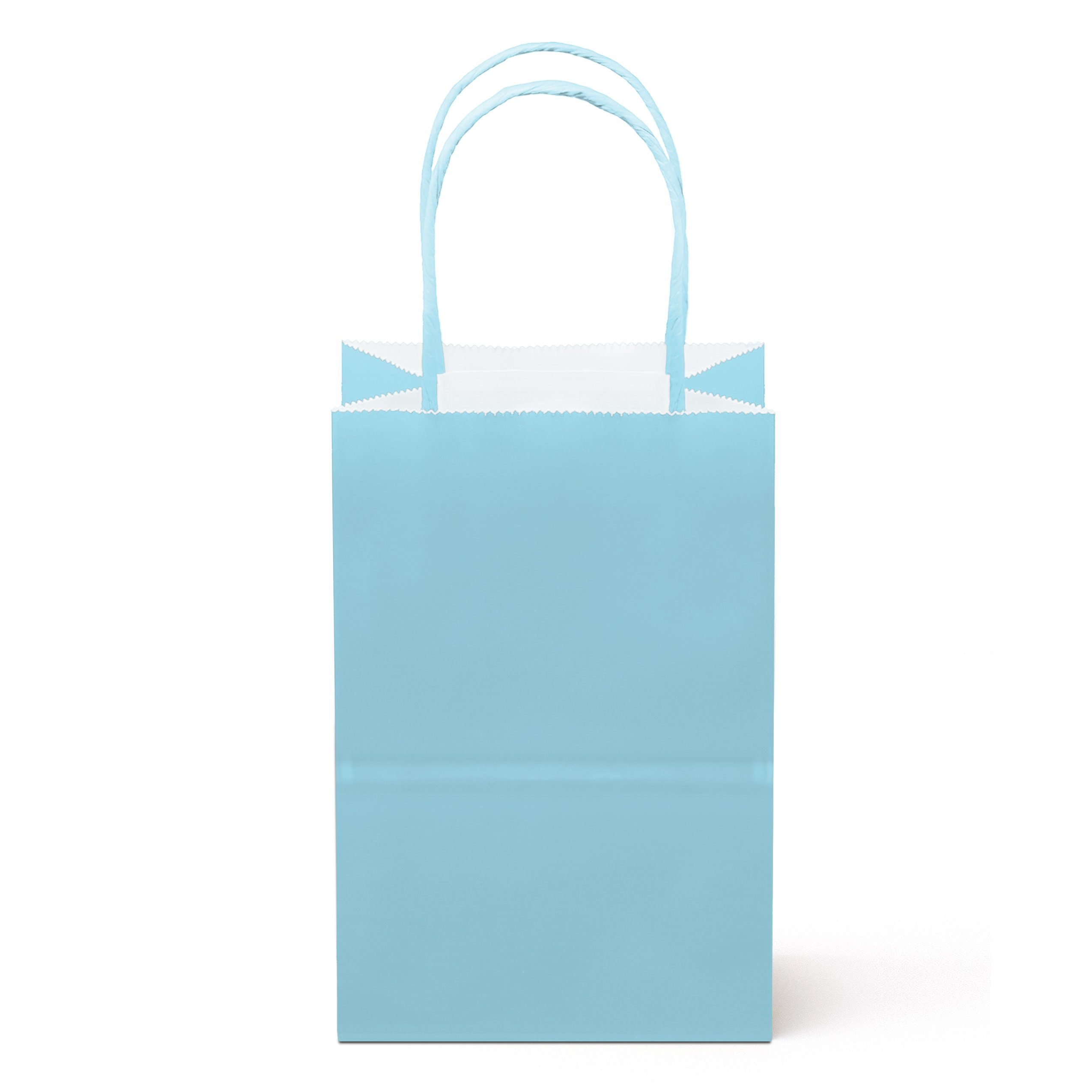 """24 Counts Food Safe Premium Paper and Ink Small 8.5"""" X 5.25"""", Vivid Colored Kraft Bag with Colored Sturdy Handle, Perfect for Goodie Favor DIY Bag, Environmentally Safe (Small, Light Blue)"""