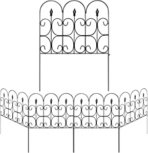 Amagabeli Decorative Garden Fence Outdoor 24in x 10ft Black Coated Metal Rustproof Landscape Wrought Iron Wire Border Folding Patio Fences Flower Bed Fencing Barrier Section Panels Decor Picket Edging