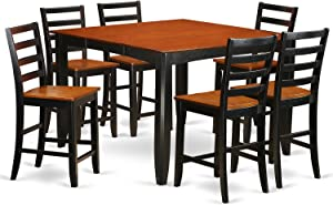 7 Pc pub Table set- Square Counter height Table and 6 Dining Chairs