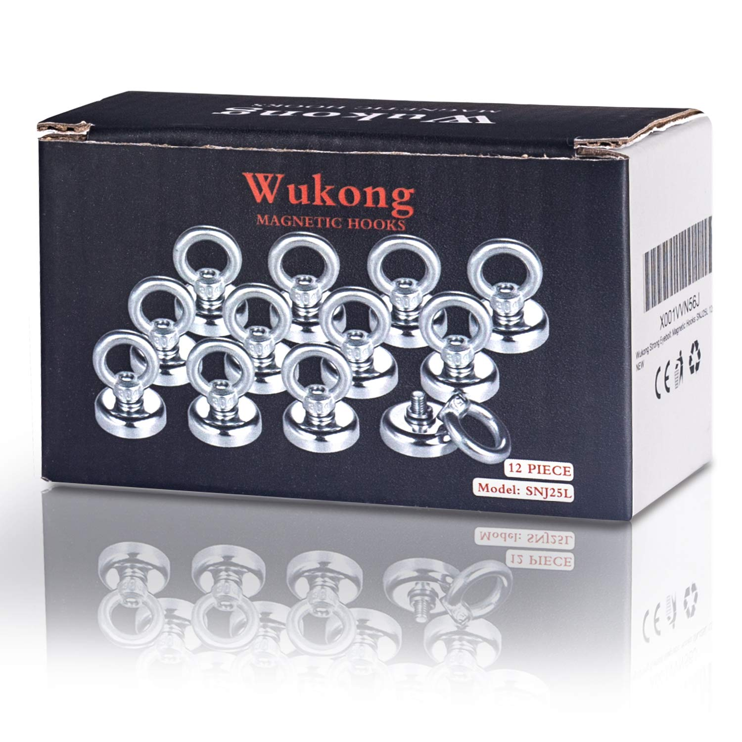 25mm Wukong 12 Pack Magnet Hook,19kg Pulling Force Powerful Round Neodymium Fishing Magnet Heavy Duty Magnetic Hooks Diameter 0.98 inch