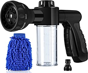 YeYouC Garden Hose Nozzle, High Pressure Hose Spray Nozzle 8 Way Spray Pattern with 3.5oz/100cc Soap Dispenser Bottle Snow Foam Gun for Car Wash, Watering Plants, Lawn, Patio, Showering Pet, Cleaning
