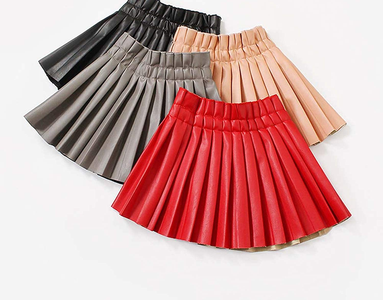 Girls Pu Leather Skirts with Mesh Patchwork Childrens Skirt Baby Outwear Fashion Style Kids Skirts