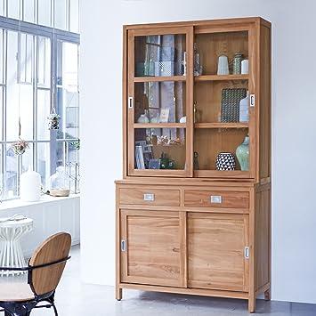 Solid Teak Wood Kitchen Dresser Dining Cabinet Sliding Doors Living Room