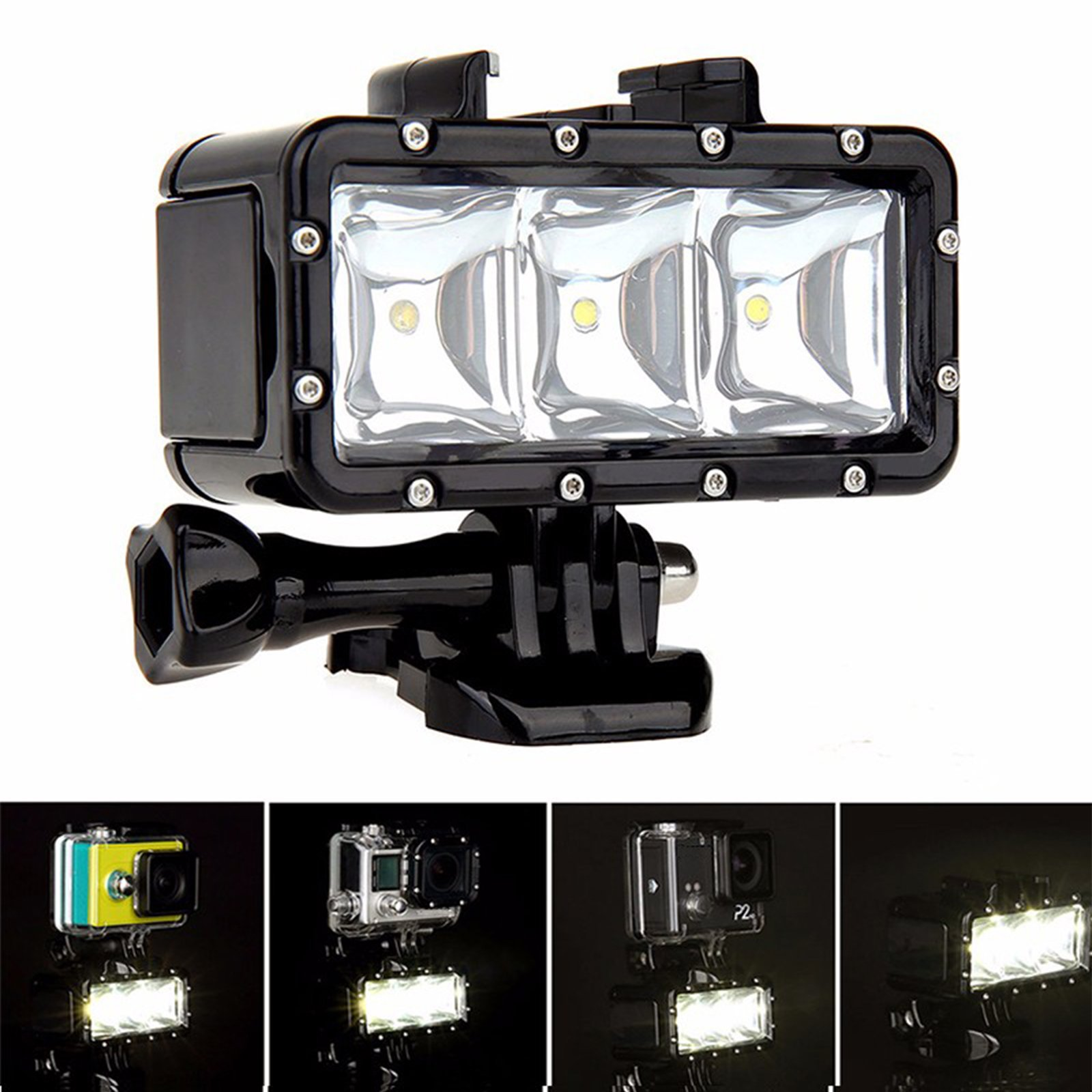 SHOOT Waterproof 30m Diving Light High Power Dimmable LED Underwater Fill Light for GoPro Hero 6/5/5S/4/4S/3+,Campark AKASO DBPOWER Crosstour SHOOT Camera with 1200mAh Built-in Rechargeable Battery by SHOOT (Image #7)
