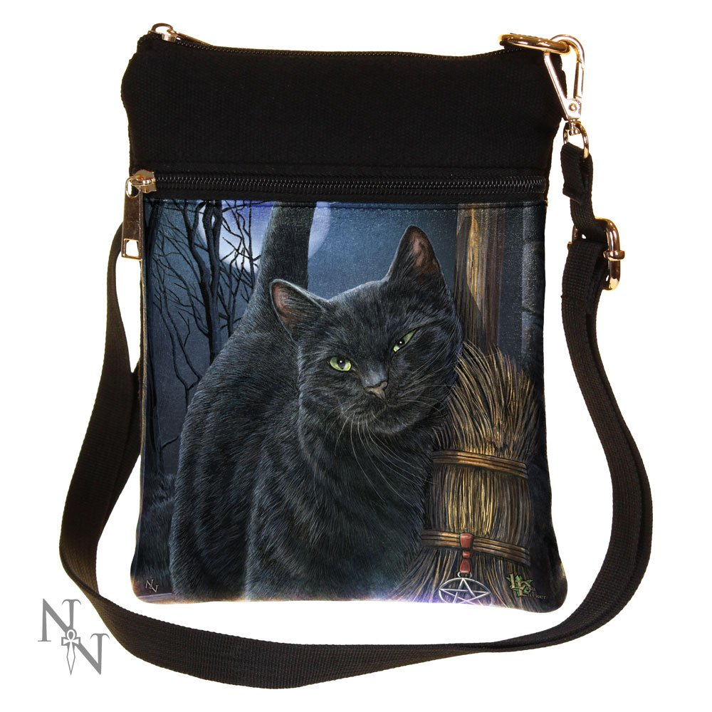 A Brush with Magick Fantasy Witch Cat Shoulder Bag by Lisa Parker Nemesis Now