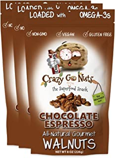 product image for Crazy Go Nuts Walnuts - Chocolate Espresso, 8 oz (3-Pack) - Healthy Snacks, Vegan, Gluten Free, Superfood - Natural, Non-GMO, ALA, Omega-3 Fatty Acids, Good Fats, and Antioxidants
