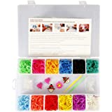 STSTECH DIY Loom Kit-1200 Rubber Bands set, 1 Loom, 1 Hook, 50pcs S-Clips, 5pcs Silicone Charms (12 colors)