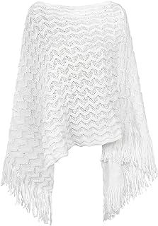 Da Donna Cashmere Poncho Cardigan Knitted Sweater Coat Winter Pullover Sciarpa oversize con maniche
