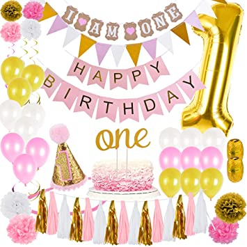 JuneJour First Birthday Party Decorations Set Pink And Gold Theme Kit With Happy Banner