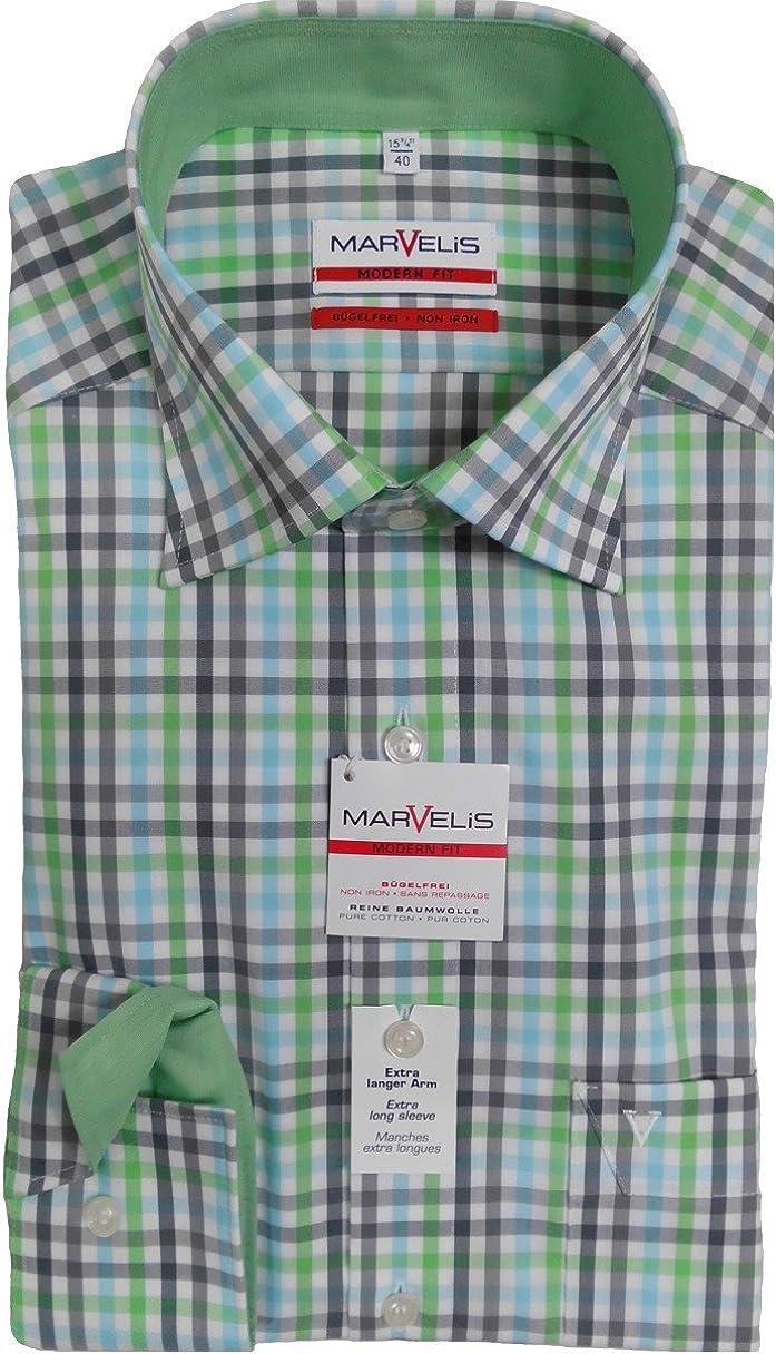 marvelis Camisa Modern Fit 7215.59.40 verde/Aqua/gris cuadros ...