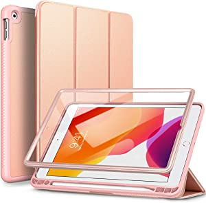 SURITCH for iPad 8th/7th Generation Case/iPad 10.2 Case, [Built in Screen Protector] [Pencil Holder] [Auto Sleep/Wake] Slim Leather Case Full Body Smart Cover with Magnetic Trifold Stand-Rose Gold