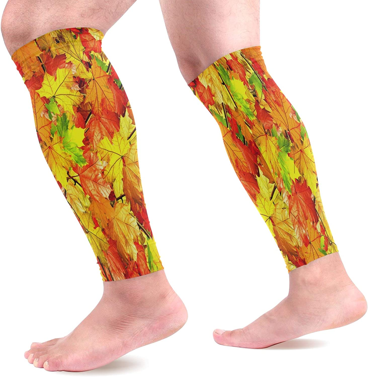 visesunny Autumn Leaves of Maple Sports Calf Support Sleeves (1 Pair) for Muscle Pain Relief, Improved Circulation Compression – Effective Support for Running, Jogging,Workout,Recovery