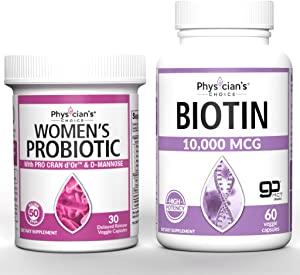 Prebiotics & Probiotics for Women + Biotin 10000mcg with Coconut Oil for Hair Growth