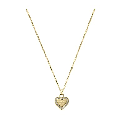 kors gold charm necklaces pendant jewellery medium michael necklace heart rose pave tone pendants