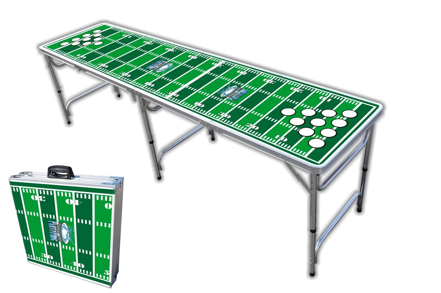 8-Foot Professional Beer Pong Table w/Cup Holes - Football Field Graphic by PartyPongTables.com