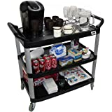 Crayata Serving and Bus Cart, Kitchen Food Service 3 Tier Heavy Duty Plastic Beverage and Coffee Transport Cart for Restaurants, Black