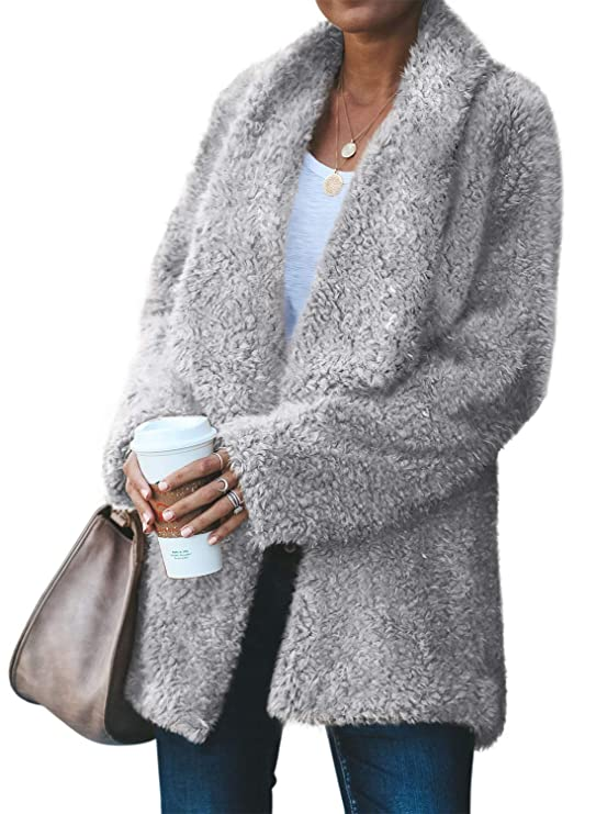 Acelitt Womens Winter Cozy Warm Casual Oversized Long Sleeve Open Front Fuzzy Sherpa Coat Cardigan Fluffy Outerwear Jackets with Pockets Gray Small best women's faux sherpa jackets