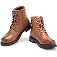 GM GOLAIMAN Mens Motorcycle Work Dress Boots - Lace Up Zip Cap Toe Ankle Boot Military