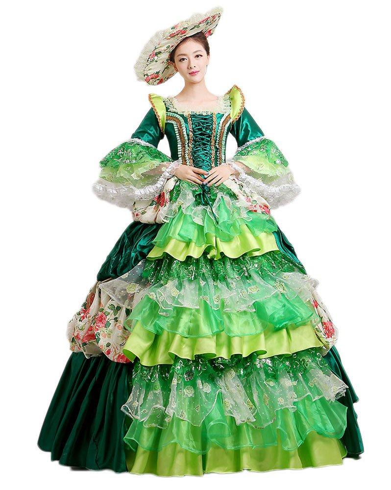 Zukzi Women's Retro Lace Rococo Baroque Gown Queen Party Dress (Green US 16) by Zukzi