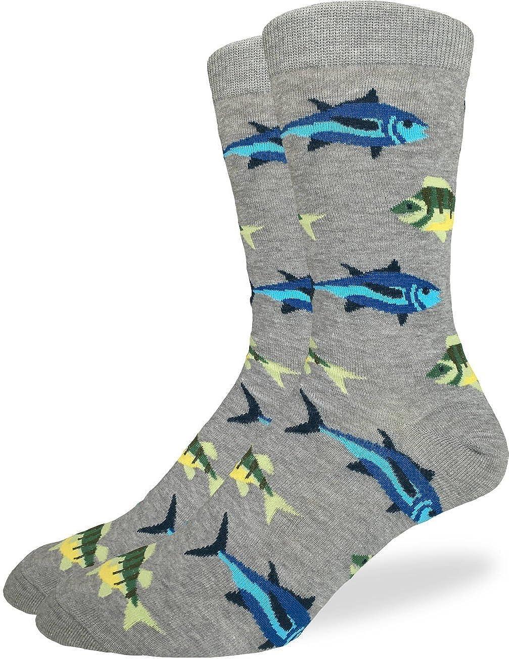Good Luck Sock Men's Extra Large School of Fish Socks, Size 13-17, Big & Tall