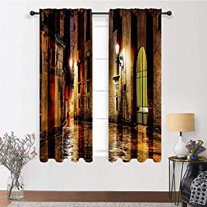 "Interestlee Patio Curtains Gothic Decor Thermal Prevent Noise Gothic Ancient Stone Quarter of Barcelona Spain Renaissance Heritage Gothic Night Street Photo 2 Panels 96"" x 72"" Cream"