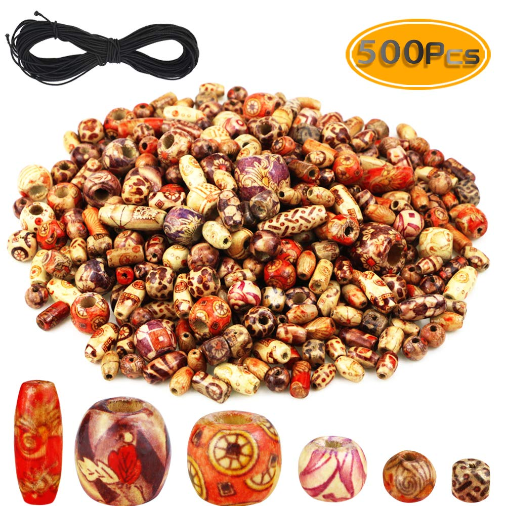BcPowr 500PCS Printed Wooden Beads Mixed, Barrel Beads Various Shapes Elastic Beading Cord for Jewelry Making DIY Bracelet Necklace Hair Accessories Supplies Assorted by BcPowr
