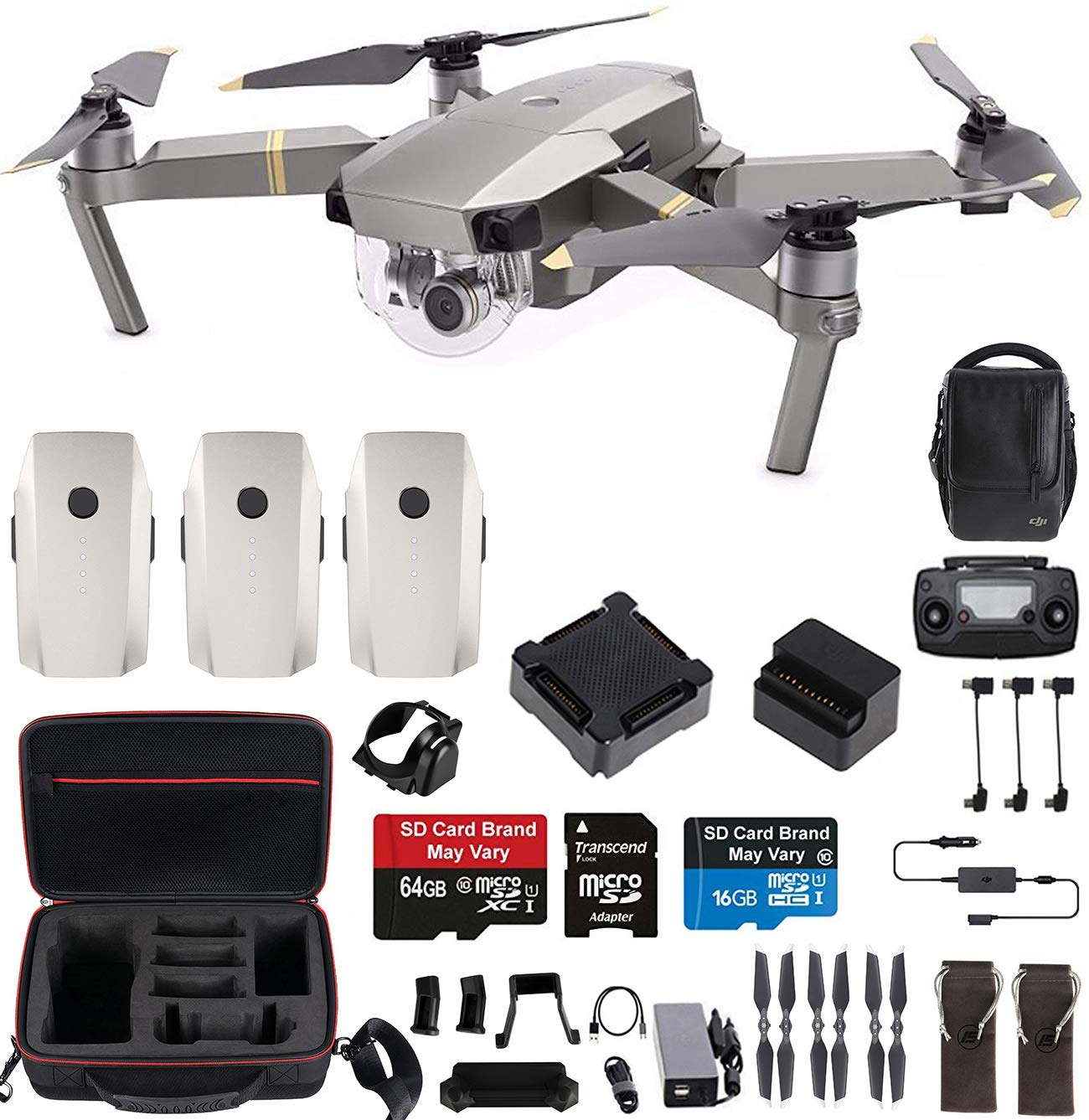 DJI Mavic Pro Platinum Fly More Combo Travel Bundle: Extra 2 Batteries, Professional Case and More by DJI