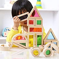 Faironly Kids Creative Acrylic Rainbow Building Blocks DIY Puzzle Wooden Stacking Tower Toys