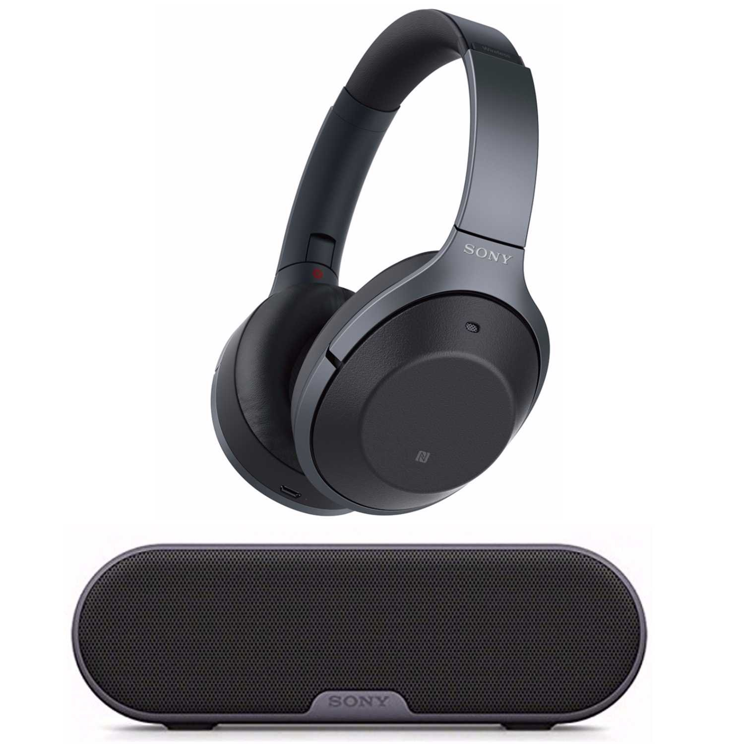 Sony Noise Cancelling Headphones WH1000XM2: Over Ear Wireless Bluetooth Headphones with Case - w/ Sony SRS-XB2 Portable Wireless Speaker with Bluetooth and NFC (Black)