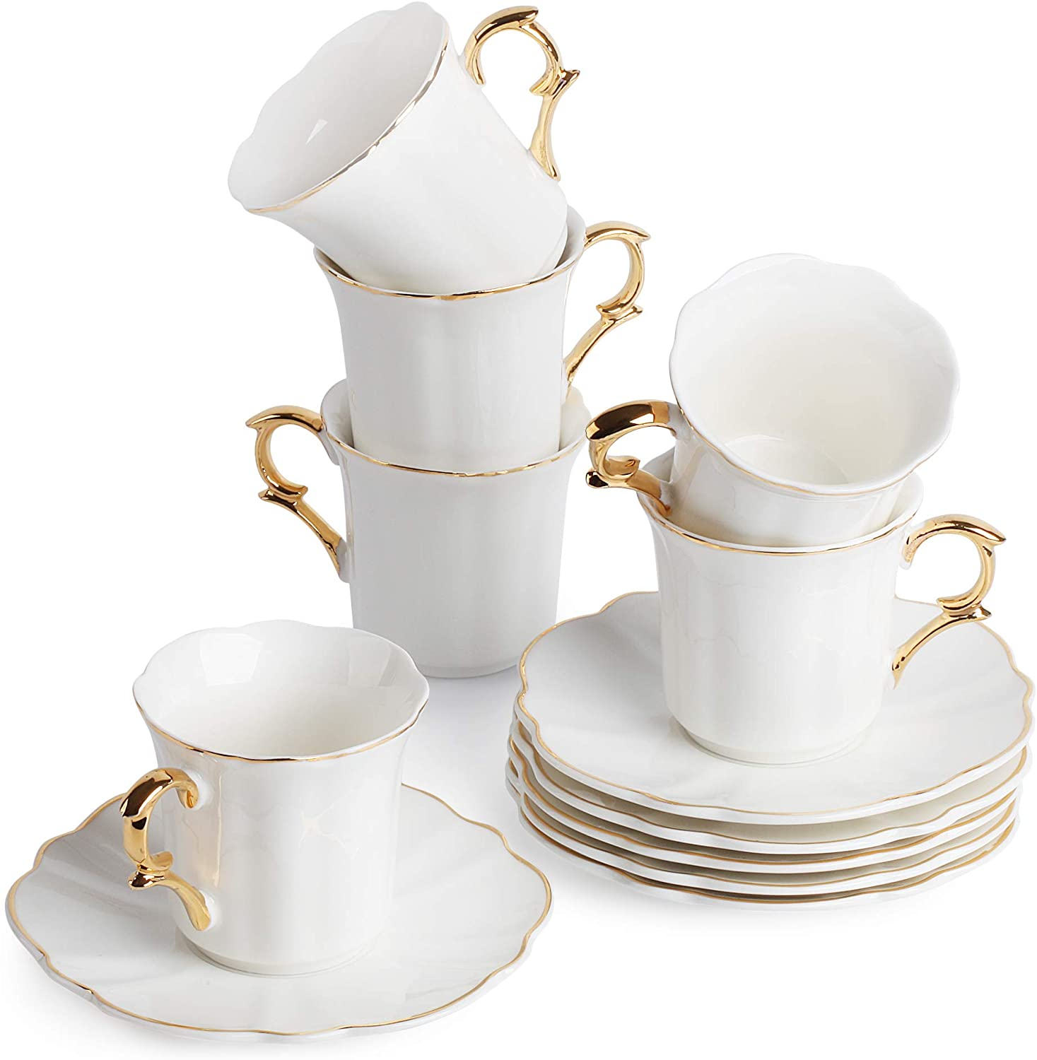 BTäT- Small Espresso Cups and Saucers, Set of 6 Demitasse Cups (2.4 oz) with Gold Trim and Gift Box, Small Coffee Cup, White Espresso Cup Set, Turkish Coffee Cup, Porcelain Espresso Cup, Espresso Set