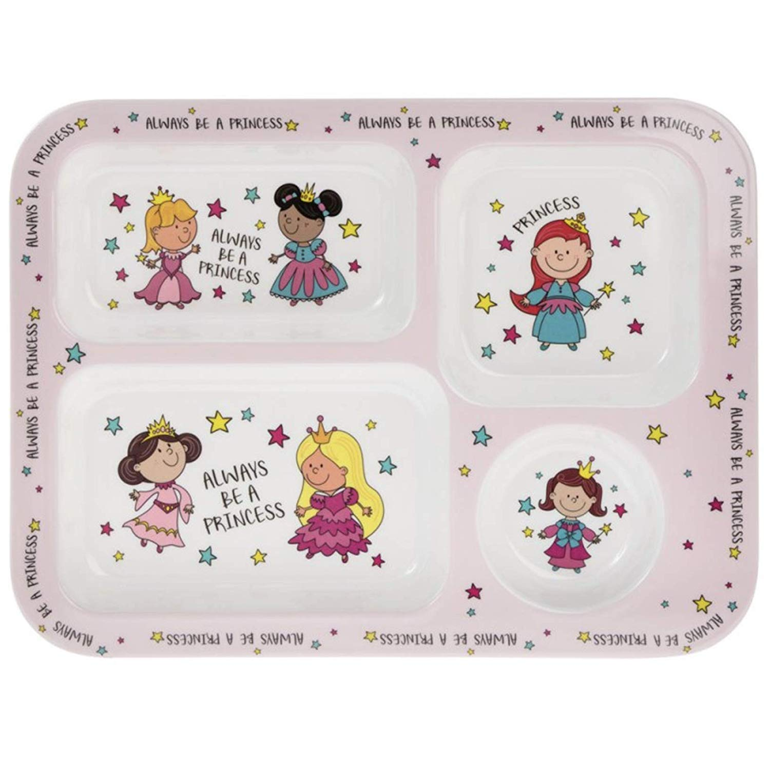 """Always be a Princess"" Pink Melamine Plastic Childrens Sections Dinner Plate 30cm Lesser & Pavey"