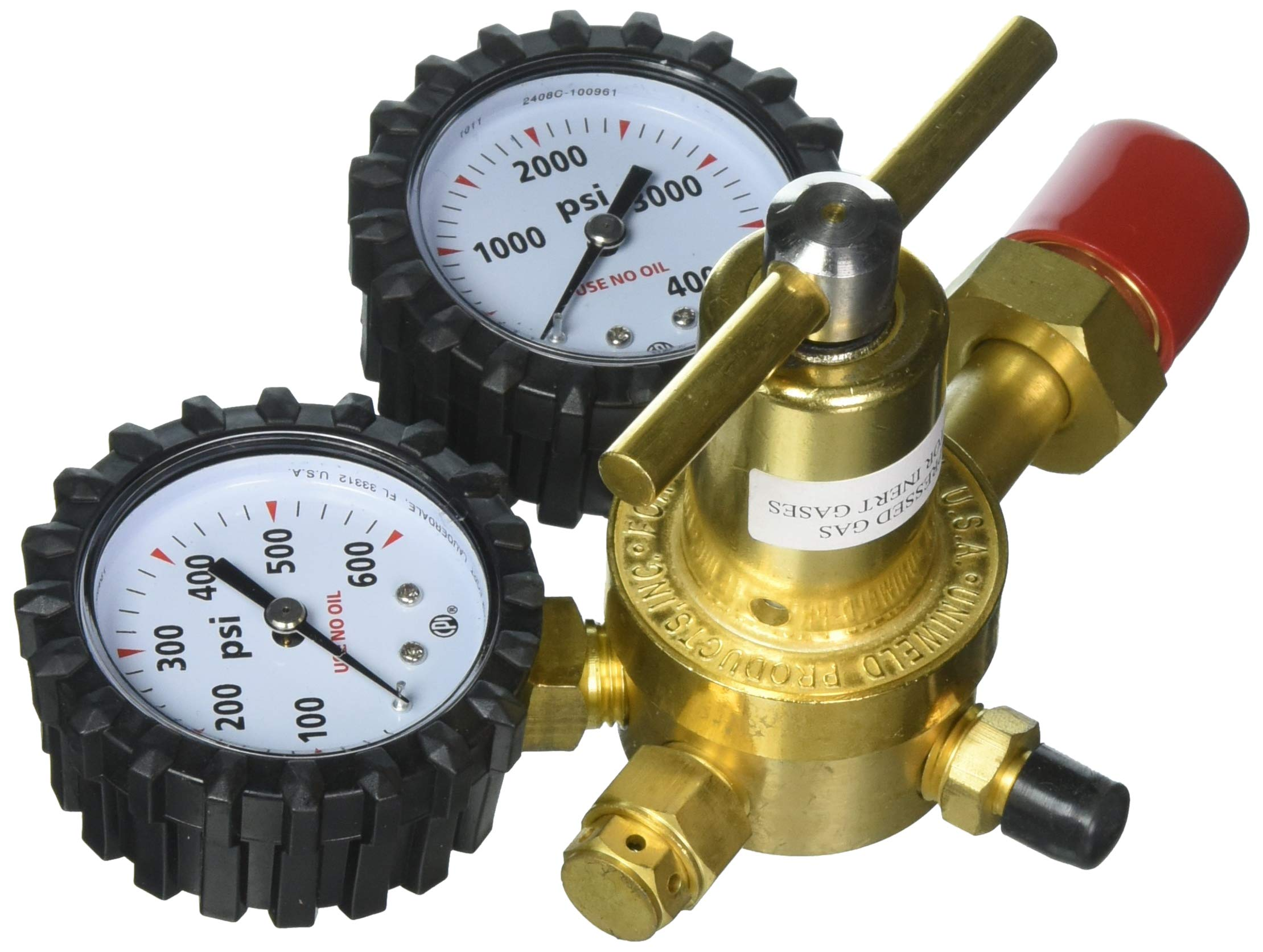 Pack Uniweld RHP400 Nitrogen Regulator with 0-400 PSI Delivery Pressure CGA580 Inlet Connection and 1//4-Inch Male Flare Outlet Connection 2-