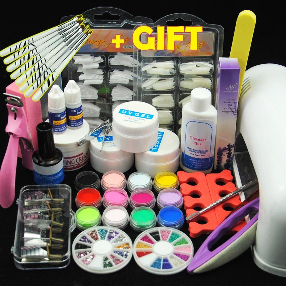 Fashionzone Acrylic Set Professional DIY UV Gel Nail Art Kit 9W UV Nail Curing Lamp Nail Tools Nail Tips Glue Acrylic Set