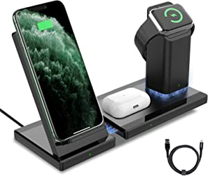 Wireless Charger, Roopose 3 in 1 Wireless Charging Station for iPhone 12/12 Pro/11/11Pro/11Pro Max/XR/Xs/Xs Max/X, Apple iWatch, AirPods Pro, 15W Fast Wireless Charging Stand for Samsung/Qi-Certified