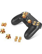 Supremery Playstation 4 Dualshock 4 Aluminium Buttons Kappen Thumbsticks Ersatzteile Zubehör für PS4 (Bullet Gold)