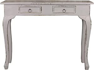 Sunset Trading Shabby Chic Cottage Table, Two Drawer, Antique gray