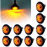 """ Purishion 10x 3/4"""" Round LED Clearence Light Front Rear Side Marker Indicators Light for Truck Car Bus Trailer Van Caravan Boat, Taillight Brake Stop Lamp 12V (Amber)"