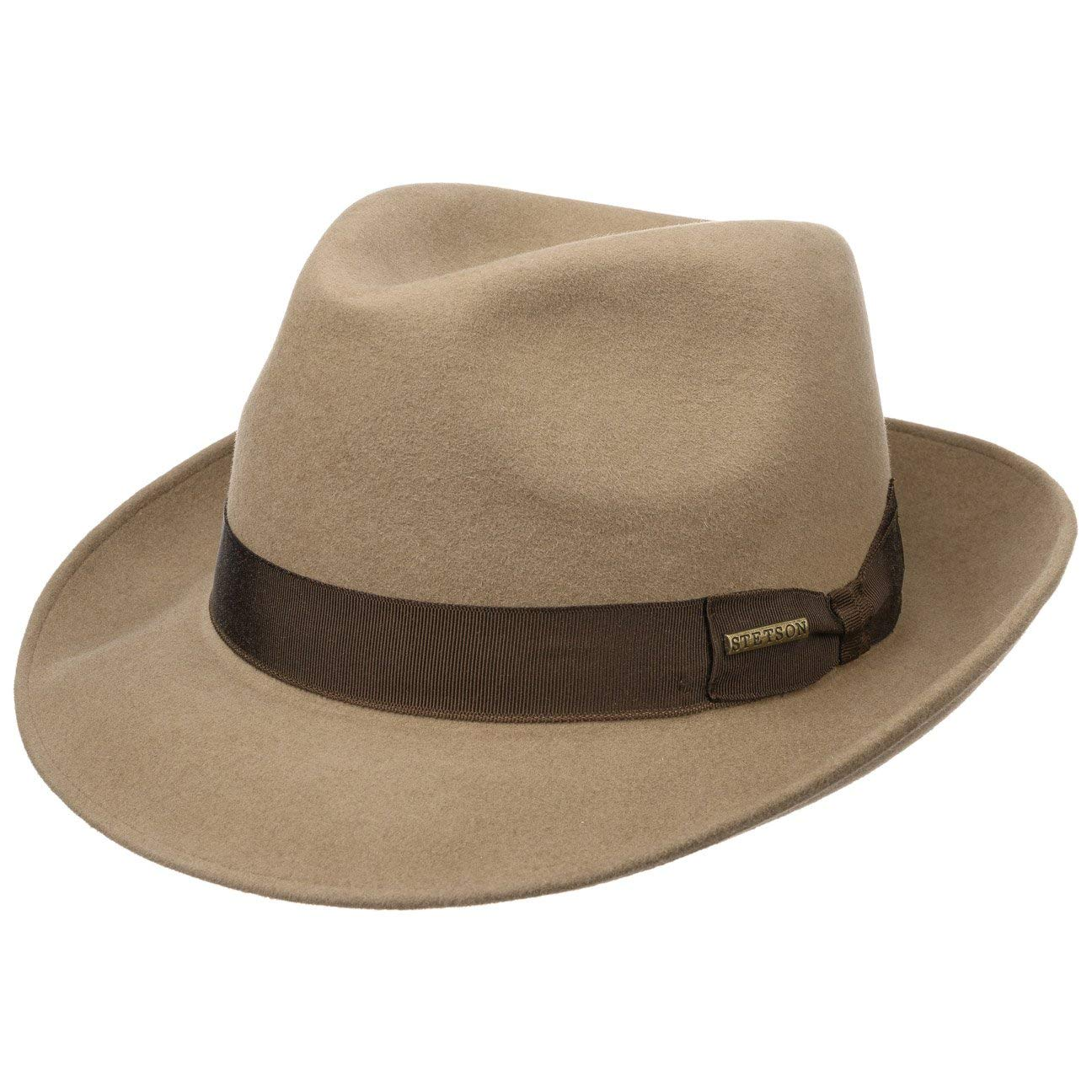 Stetson Rossford Fur Felt Bogart Hat Women/Men Beige 6 7/8