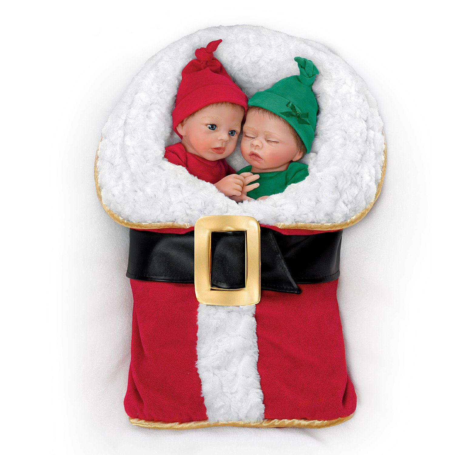 Donna Lee Twin Baby Doll Set With Santa Suit Shaped Bunting by The Ashton-Drake Galleries by The Ashton-Drake Galleries