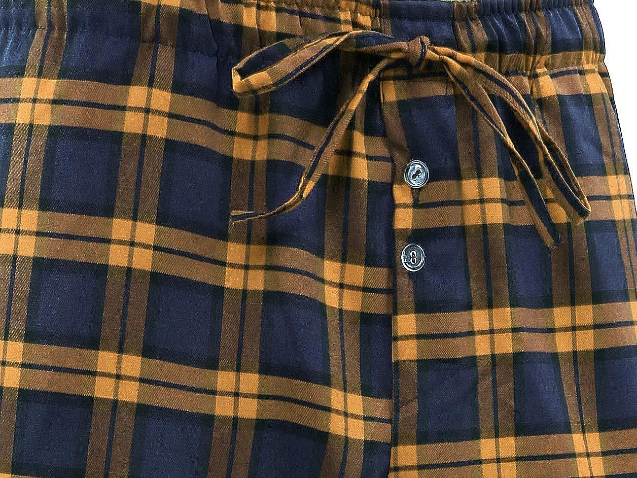 Sesto Senso Pantalon Bas de Pyjama Homme Long Coton 1-2 Pack Carreaux Nuit V/êtement dInt/érieur