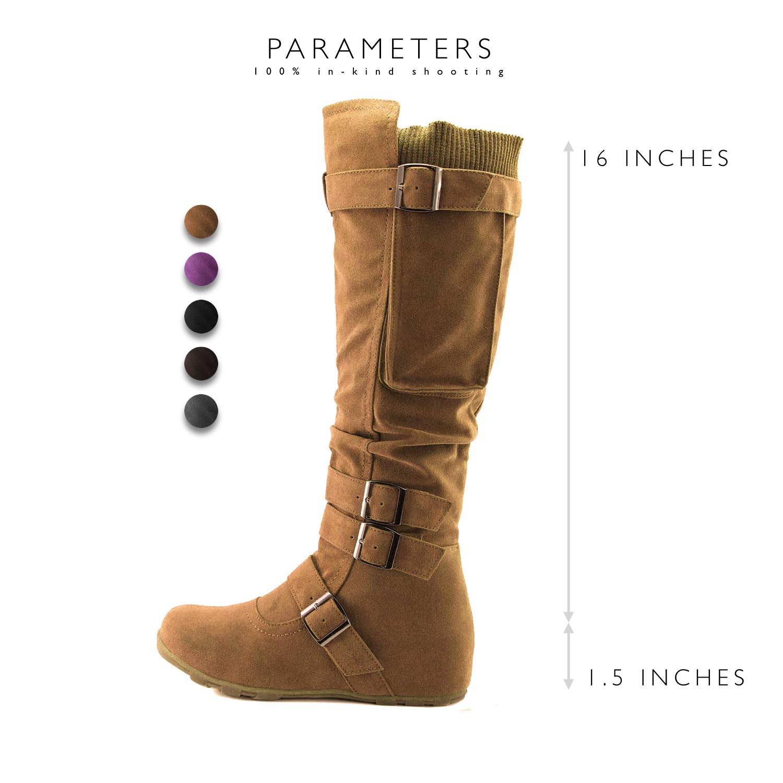 7727c04bb0de Amazon.com | DailyShoes Women's Mid Calf Slouch Hidden Wedge Comfortable  Slip On Round Toe Flat Heel Knee High Boots | Knee-High