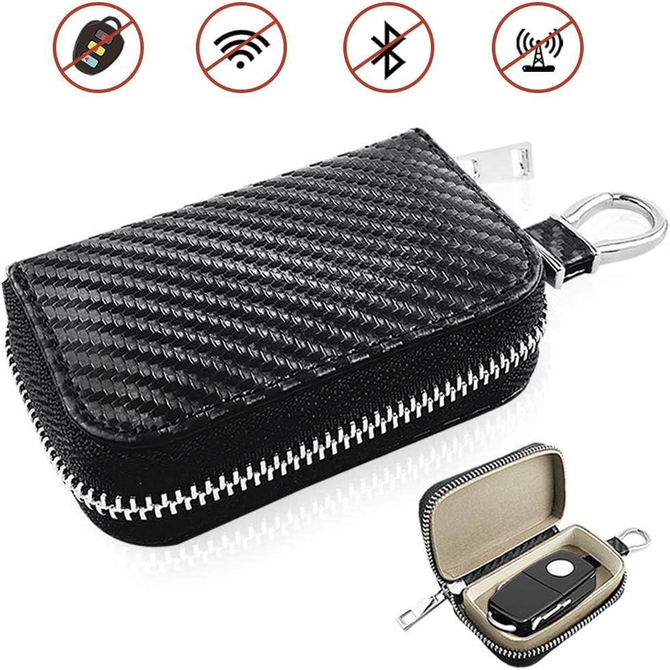 Anti-Hacking Case Blocker Anti-Theft Pouch Upgraded Car Key Case Faraday Cage Car Key Protector ? RFID Signal Blocking