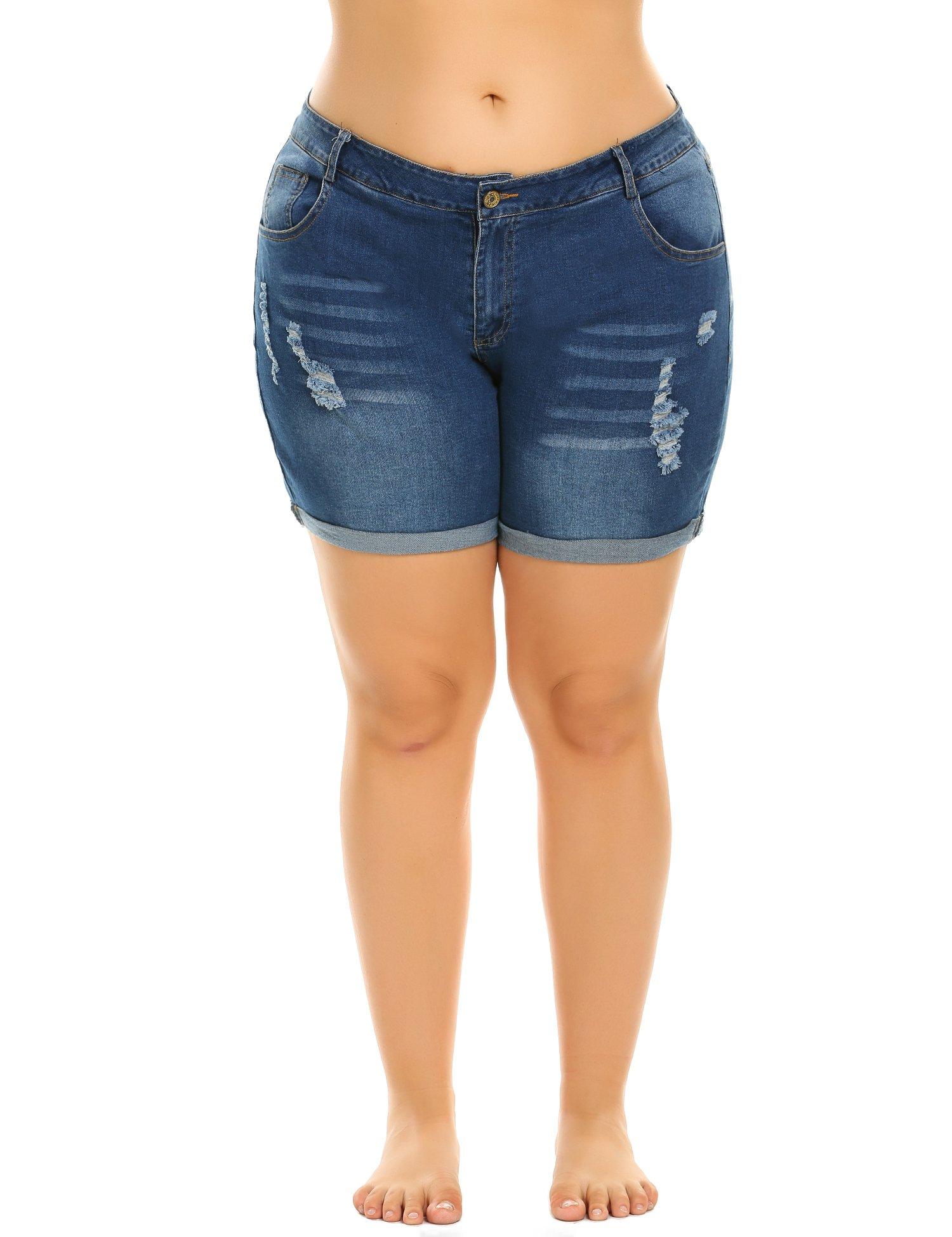 IN'VOLAND Women's Plus Size Denim Shorts Cuffed Short Jeans Pants