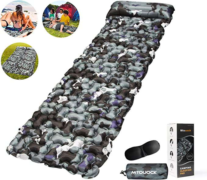 Inflatable Sleeping Mat with Pillow,Ultralight Sleeping Pad for Backpacking,Camping,Hiking ANMRY Camping Sleeping Pad