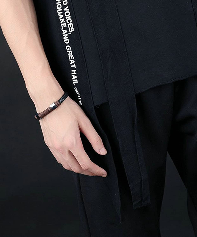 Gnzoe Men Braided Leather Bracelet Bangle Bracelet Hoop Black Brown 6.1 cm
