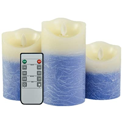 """Iovin Water Wave Grain Flameless Candles Set of 3.15"""" (Size:4"""" 5"""" 6"""") Battery Operated LED Pillar Candles with Moving Flame Wick Timer,Wave Top(Blue&Ivory): Home & Kitchen"""